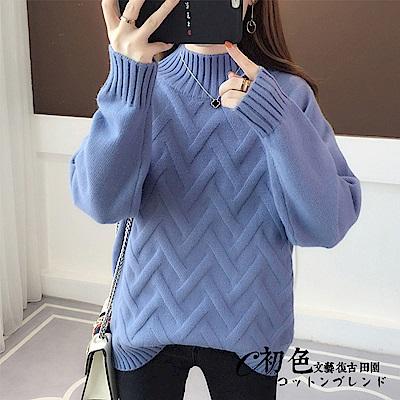 半高領線條針織上衣-共7色(F可選)   初色