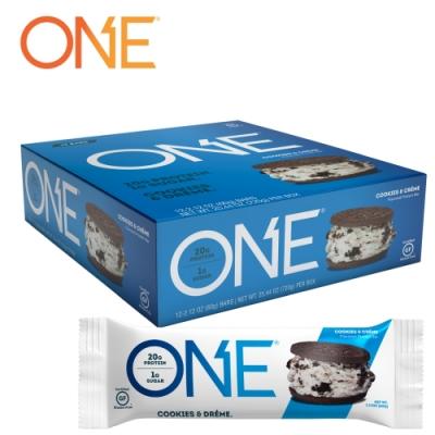 【美國 ONE Brands】ONE Bar 牛奶乳清蛋白棒 Cookies & Crème(奶油餅乾(OREO餅乾)/12x60g/盒)