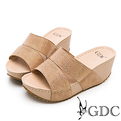 GDC-萬年不敗系列真皮船型底水鑽舒適好走一字拖鞋-卡其