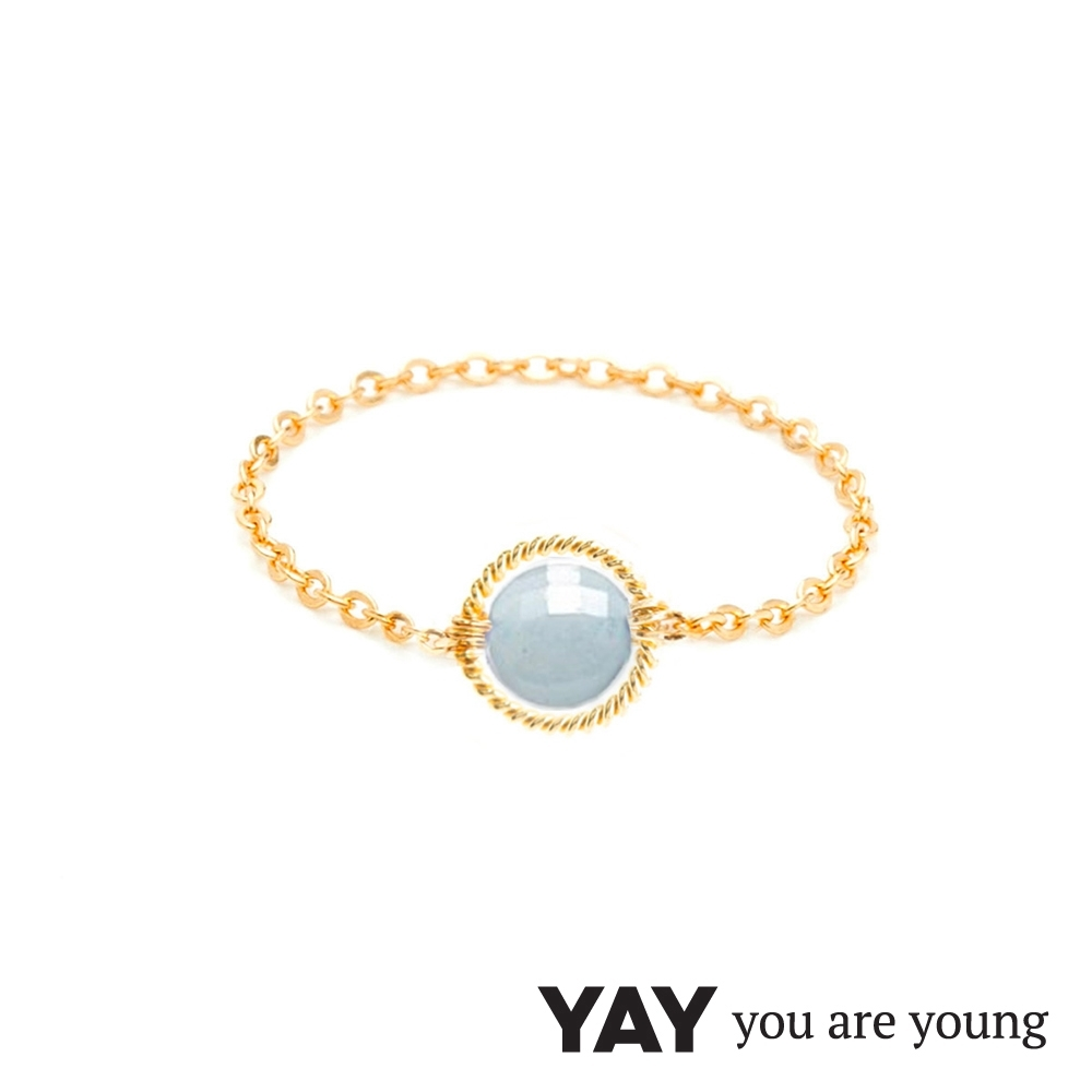 YAY You Are Young 法國品牌 Riviera 灰藍水晶鍊戒 金色圓形