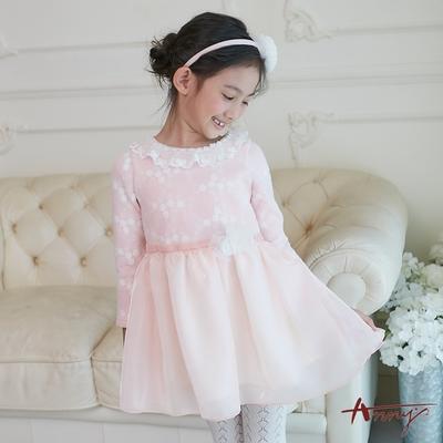 Annys安妮公主-小白花紗裙拼接秋冬款領口蕾絲珍珠長袖綁帶禮服*8602粉紅