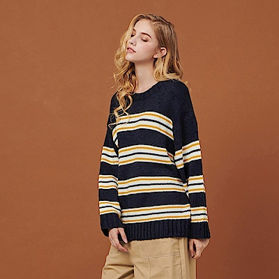 Shester55-彩條寬鬆針織衫(兩色)-女【RSH089】