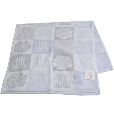 LANVIN 圖騰字母LOGO刺繡金線滾邊長方巾(灰藍系)