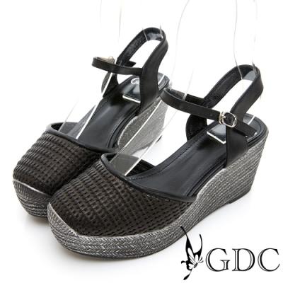 GDC-HOT!人氣NO.1夏日編織日系真皮楔型涼鞋-黑色