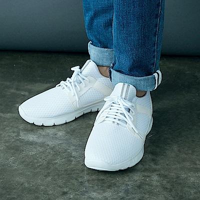 台灣製造~3D立體高彈織條拼色休閒運動男鞋.3色-OB大尺碼