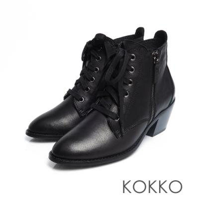 KOKKO -交織的無限綁帶牛皮粗跟短靴-經典黑