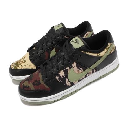 Nike 休閒鞋 Dunk Low SE 經典 運動 男鞋 皮革 迷彩元素 鴛鴦 後跟刺繡 穿搭 黑 綠 DH0957-001