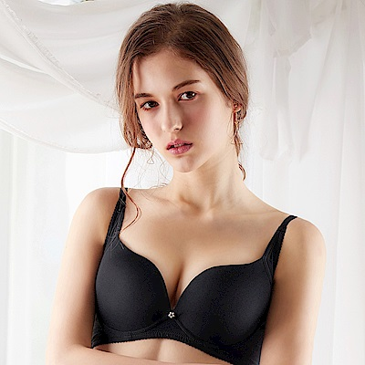 EASY SHOP-蜜桃絲素体美人 包覆款B-D罩成套內衣(鋼琴黑)