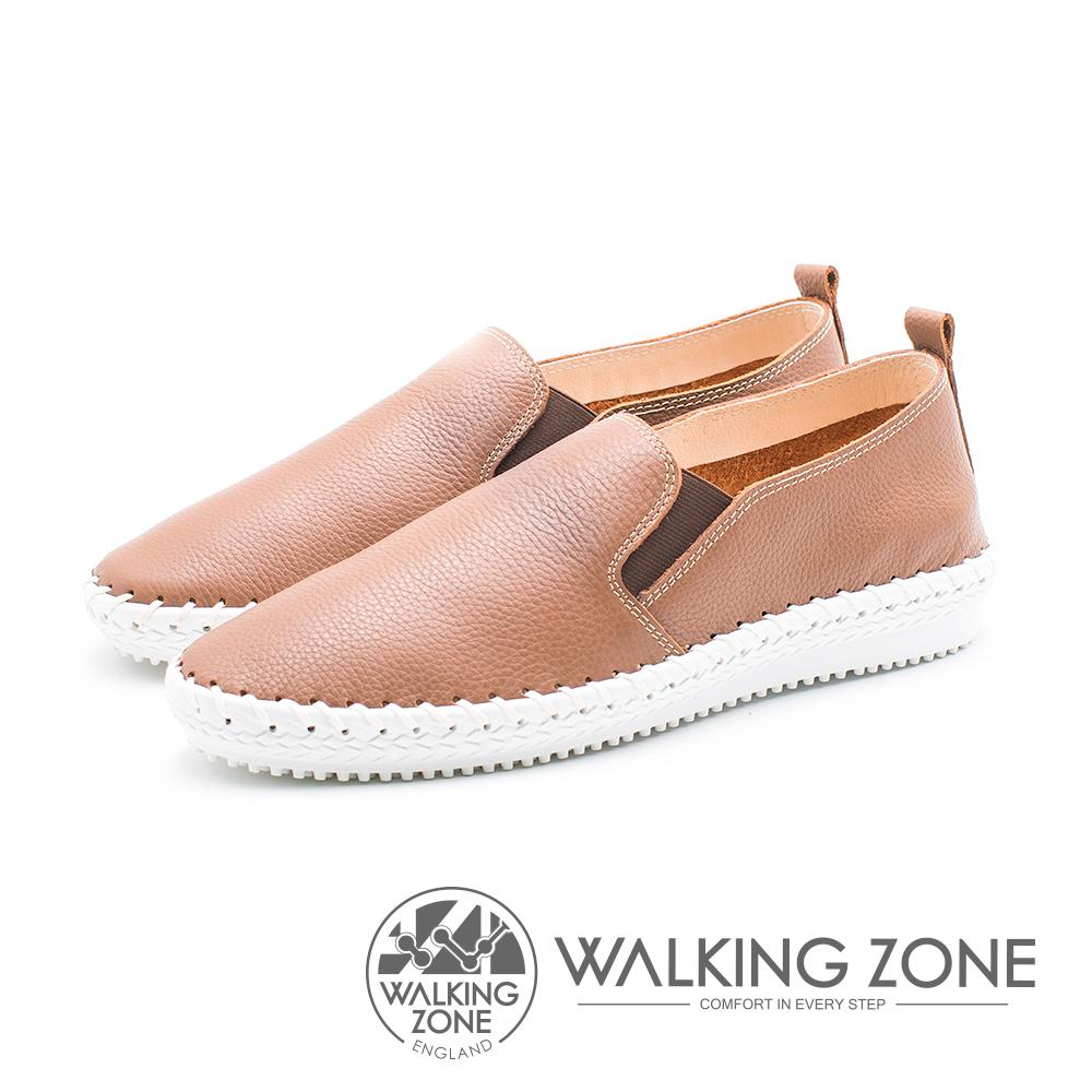 WALKING ZONE 簡約舒適皮革懶人樂福鞋便鞋 男鞋-棕(另有藍)