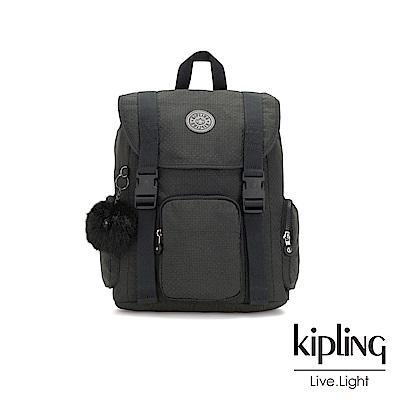 Kipling低調黑格紋插扣束口掀蓋式後背包-IZIR