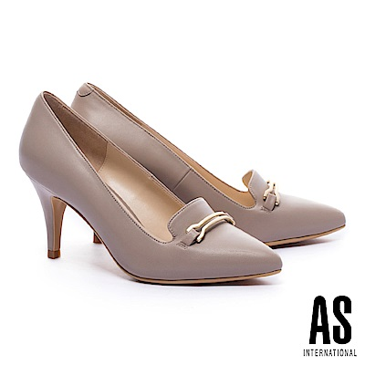 高跟鞋 AS 都市典雅馬銜釦羊皮尖頭樂福高跟鞋-米