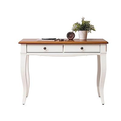 文創集 巴莉鄉村雙色3.3尺二抽書桌/玄關桌-100x41x76cm免組