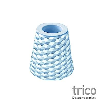 TRICO 菱格珪藻土牙刷架-藍