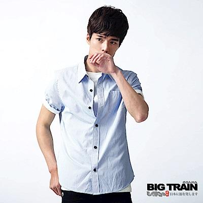BIG TRAIN 基本款條纹短袖襯衫-男-水藍