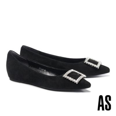 高跟鞋 AS 內斂氣質晶鑽方釦全真皮內增高跟鞋-黑