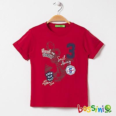 bossini男童-印花反摺短袖T恤紅