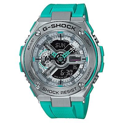 G-SHOCK 絕對強悍武士分層防護概念休閒錶(GST- 410 - 2 )藍綠x黑面 52 . 4 mm