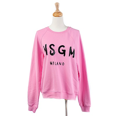 MSGM 經典油漆塗鴉英文字母長袖上衣 (粉紅)