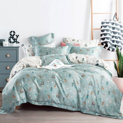 LAMINA 小夥伴(藍) 雙人100%天絲四件式兩用被套床包組