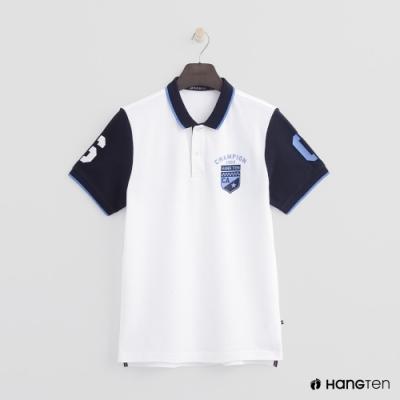 Hang Ten - 男裝 - 數字logo撞色款POLO衫 - 白
