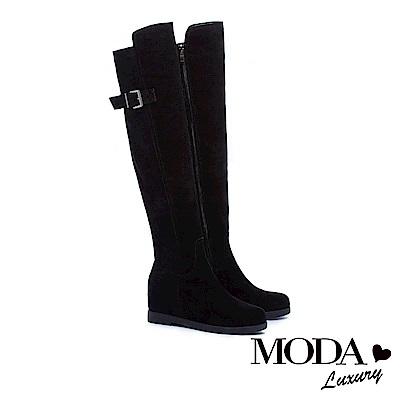 過膝靴 MODA Luxury 百搭率性俐落異材質拼接內增高過膝靴-黑