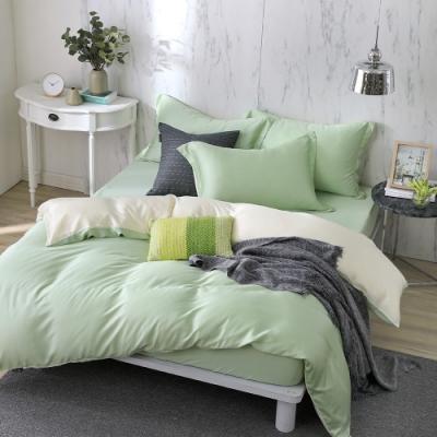 OLIVIA 玩色主義 綠 加大雙人床包兩用被套四件組 300織膠原蛋白天絲 台灣製