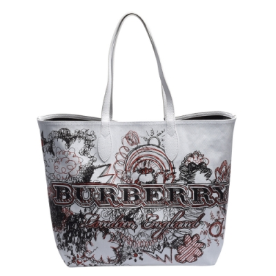 BURBERRY Doodle塗鴉系列Canvas雙面兩用肩背購物包(大-白)