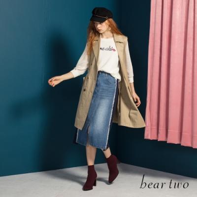 bear two-經典雙排扣無袖背心外套-卡其