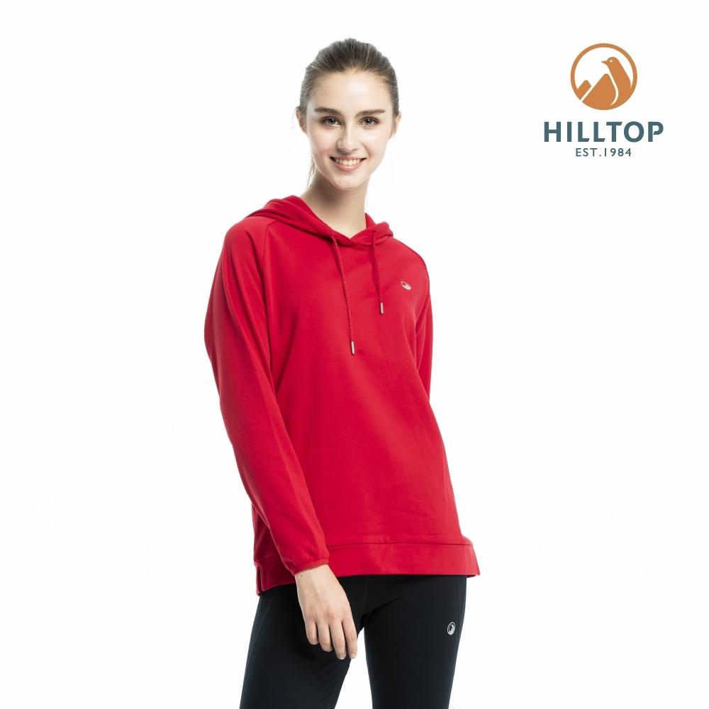 【hilltop山頂鳥】女款ZISOFIT保暖吸濕快乾抗菌刷毛上衣H51FI9探戈紅