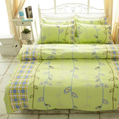 BUHO 雙人加大三件式100%純棉床包組(綠意盎然)