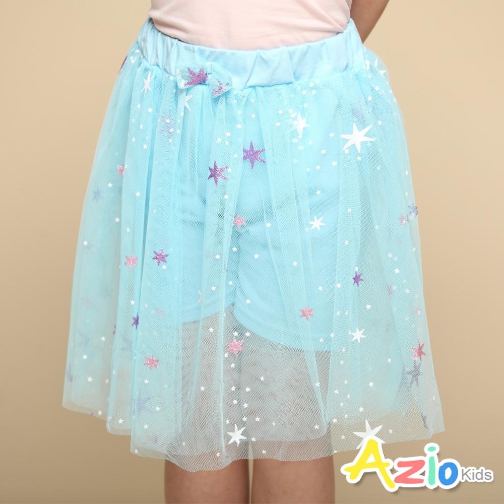 Azio Kids 女童 短裙 大小星星印花蝴蝶結網紗短裙(藍)