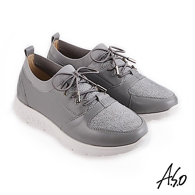 A.S.O 3D超動能 襪套式牛皮網布休閒鞋 灰