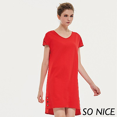 SO NICE摩登亮麗紅羅馬布洋裝