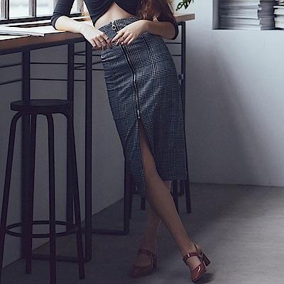 AIR SPACE 開衩拉鍊格紋包臀長裙(黑)