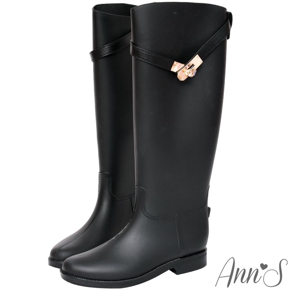 Ann'S多雨城市-精品轉釦造型顯瘦長筒雨靴