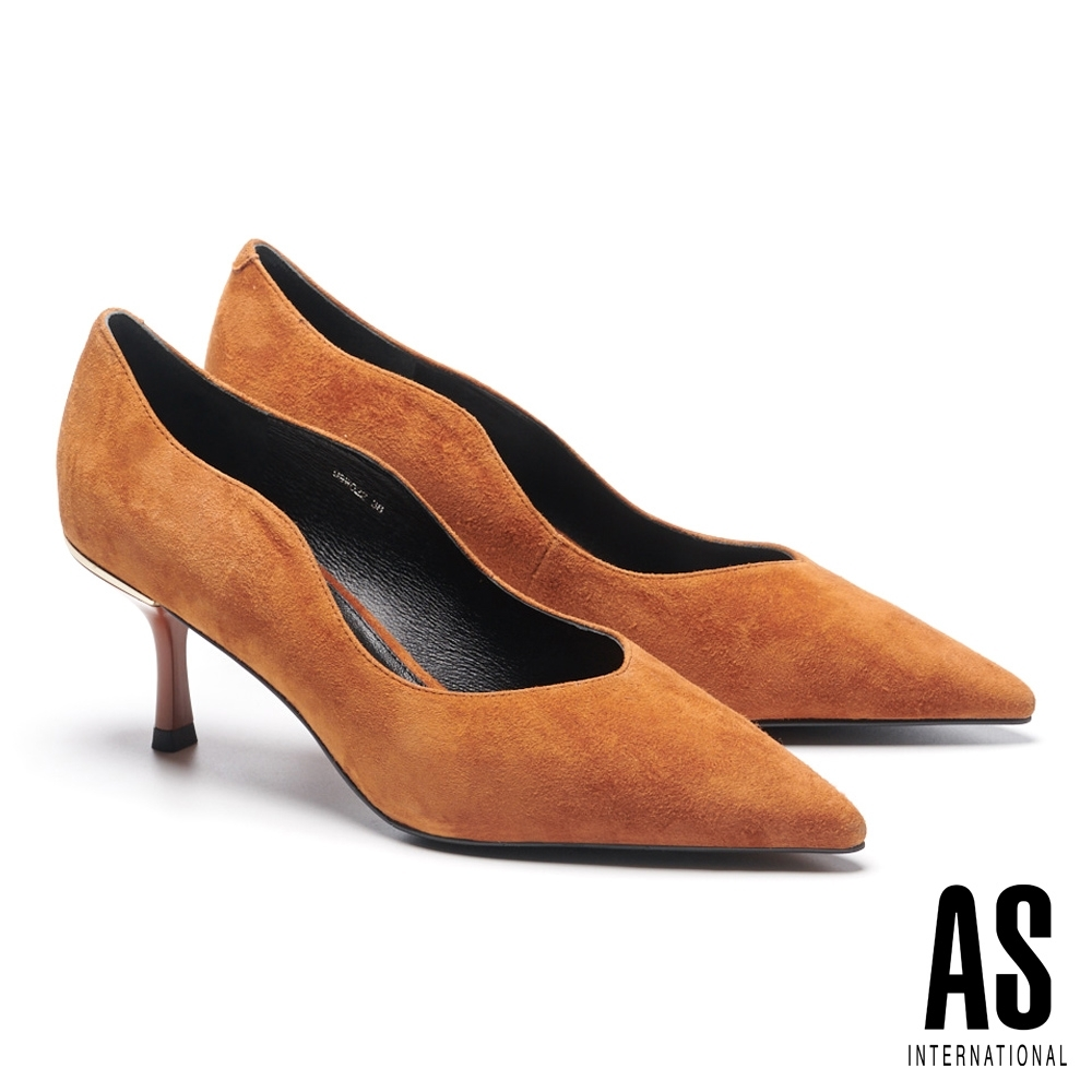 高跟鞋 AS 簡約率性流線剪裁全真皮尖頭高跟鞋-咖