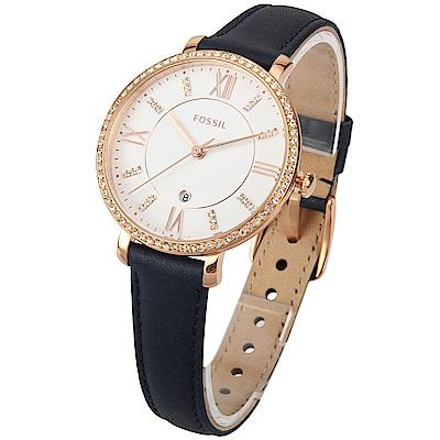 FOSSIL Jacqueline 羅馬水晶海藍休閒腕錶-(ES4291)-36mm