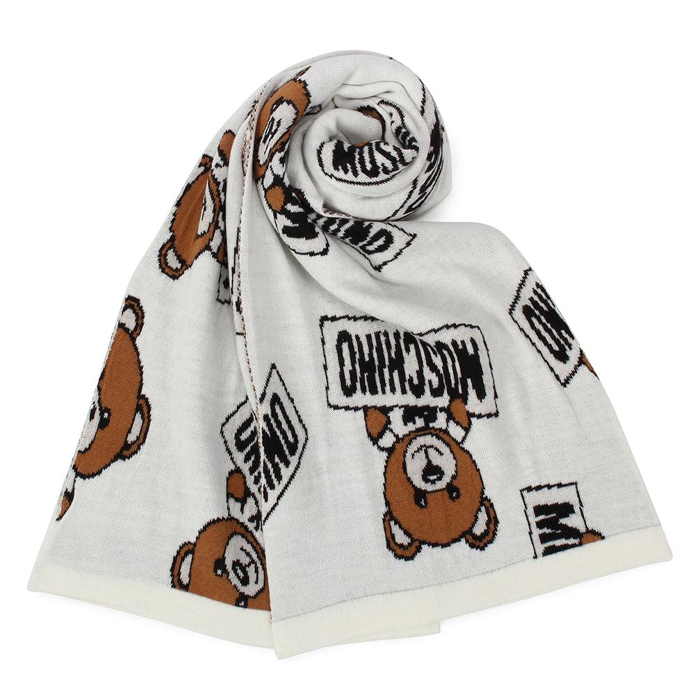 MOSCHINO 經典TOY小熊混織羊毛圍巾-米白色