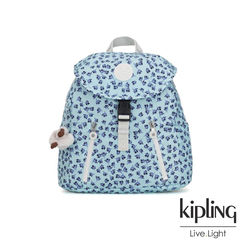 Kipling 典雅淡藍小花前扣翻蓋後背包-ZAKARIA