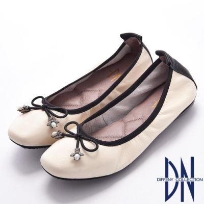 DN 經典芭蕾 軟牛皮蝴蝶結飾釦娃娃鞋-米白