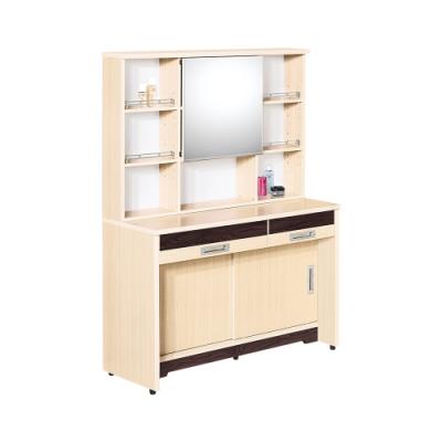 Birdie南亞塑鋼-洛娜3.5尺二抽二推/拉門塑鋼化妝桌/鏡台(白橡色+胡桃色)-104x46x156cm