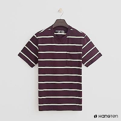Hang Ten - 男裝 - 有機棉-小口袋V領素面T恤 - 紅