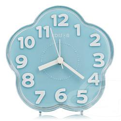 愛迪生 超靜音梅花立體數字鬧鐘-藍