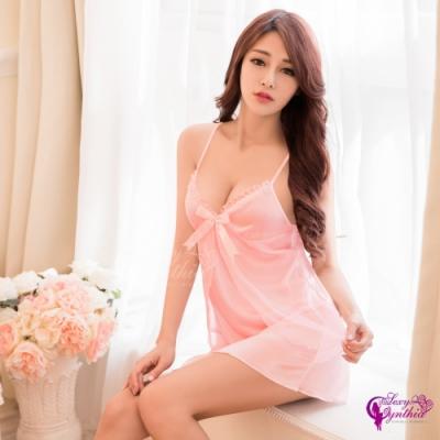 Sexy Cynthia 愛戀粉紅柔緞深V假兩件式連身裙性感睡衣-粉