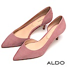 ALDO 原色不對稱鞋面流線尖頭細高跟鞋~大人粉色
