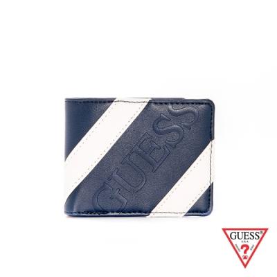 GUESS-男夾-藍白斜紋皮革短夾-藍