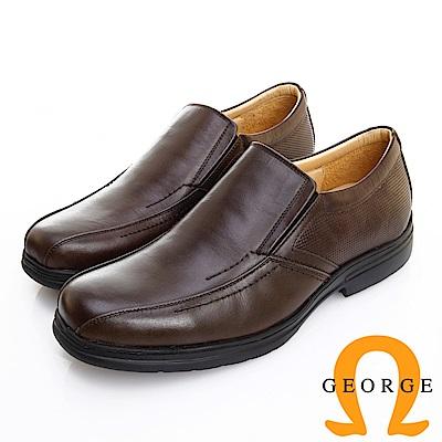 GEORGE 喬治皮鞋 輕量系列 素面真皮斜切口懶人鞋-咖