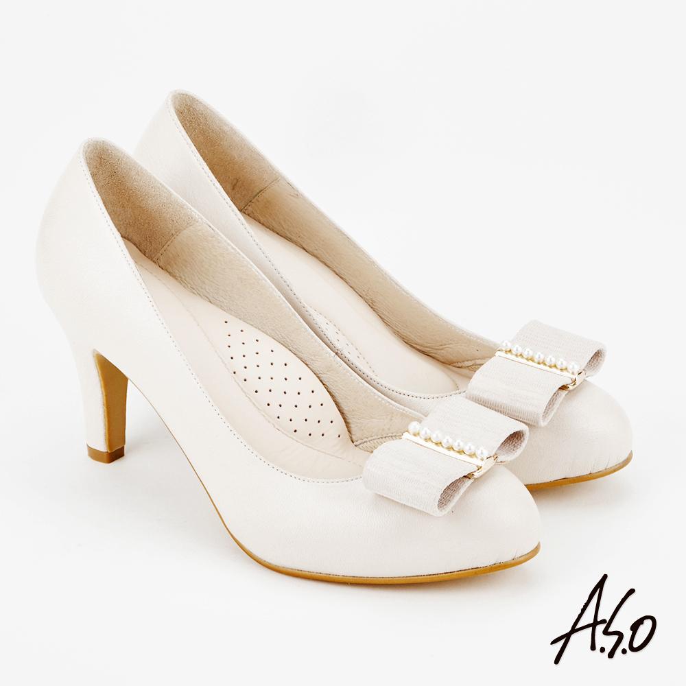 A.S.O 雅緻魅力 時尚流行經典蝴蝶結高跟鞋 米