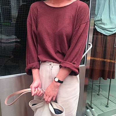 La Belleza百搭素色簡約可拉一字領捲邊寬鬆長袖棉T