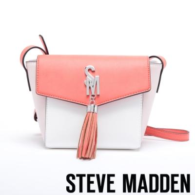 STEVE MADDEN-BSAWYER-M雙色皮革流蘇綴飾翻蓋斜背包-橘色